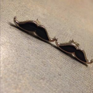 Mood color changing mustache earrings